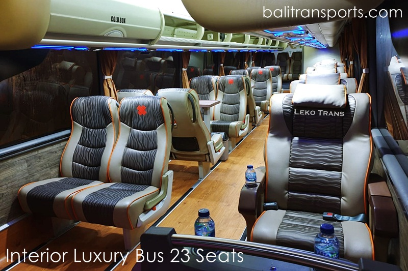 Interior Luxury Bus 23 seats charter and hire Bali